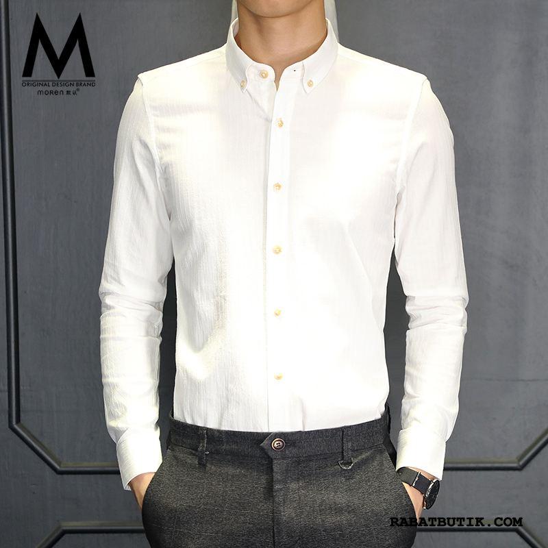 Skjorter Herre Tilbud Stribede Lange Ærmer Smuk Slim Fit Trend Hvid