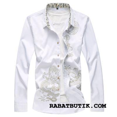 Skjorter Herre Udsalg Dekoration Tryk Store Størrelser Efterår Drage Ren Hvid Cyan