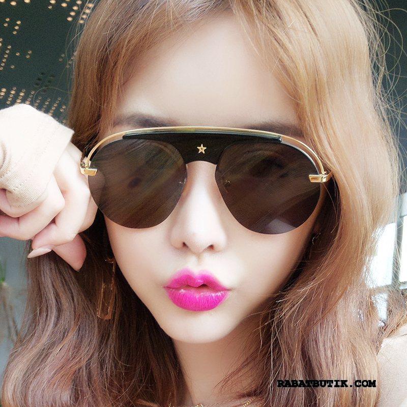 Solbriller Dame Tilbud Mesh Runde Ansigt Mode Kvinder Trend Rød Sort