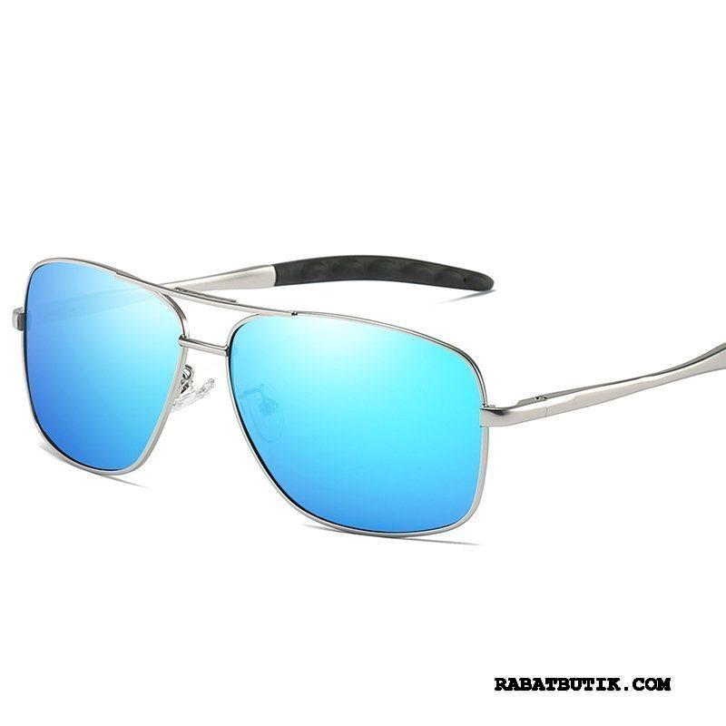 Solbriller Herre Billige Mænd Køre Polarisator Farvet Vintage Sølv Blå