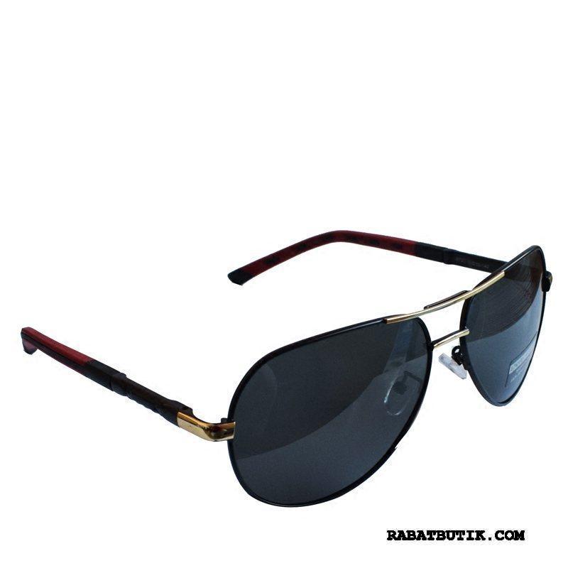 Solbriller Herre Køb Trend Køre Simpel Tudse Runde Ansigt Sort Grå Guld