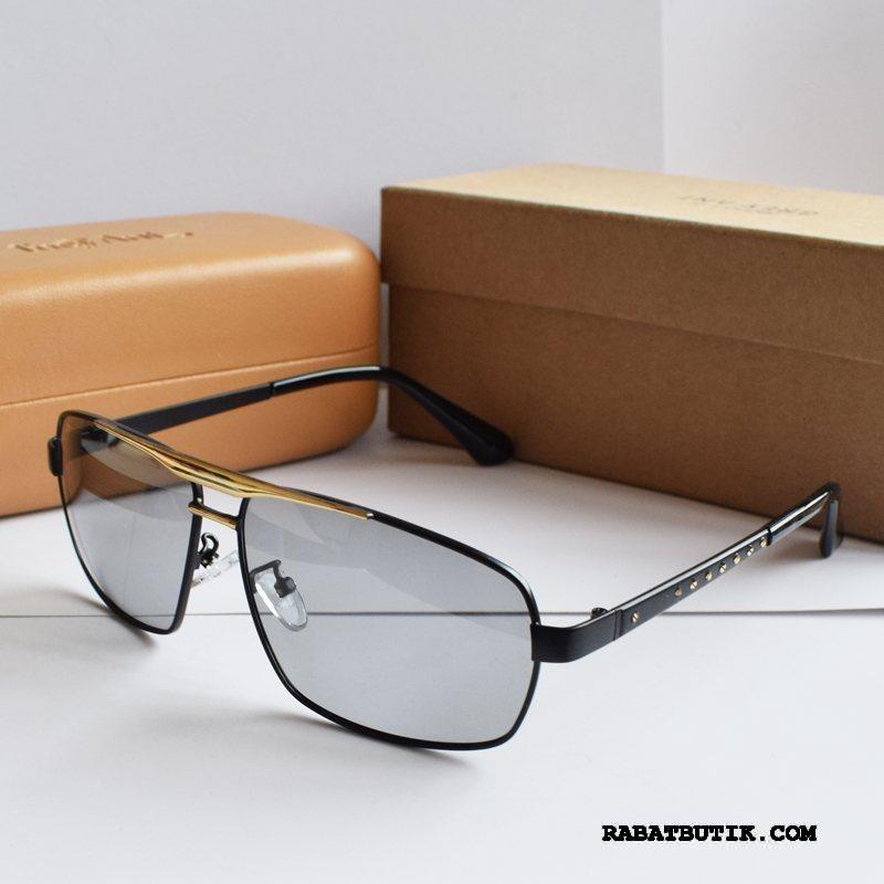 Solbriller Herre Online Firkantet Køre Personlighed Simpel Mænd Sort Guld
