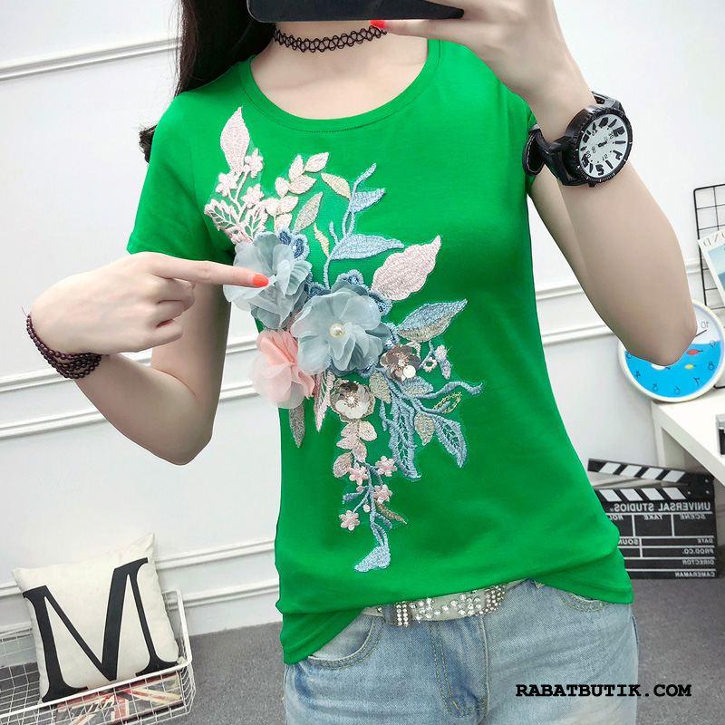 T-shirts Dame Billig Kort Ærme Sommer Lange Ærmer Med Broderi Ny Hvid Grøn