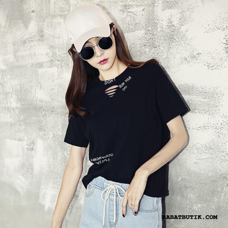 T-shirts Dame Rabat Ny Kvinder Undertrøje Kort Ærme Trend Sort