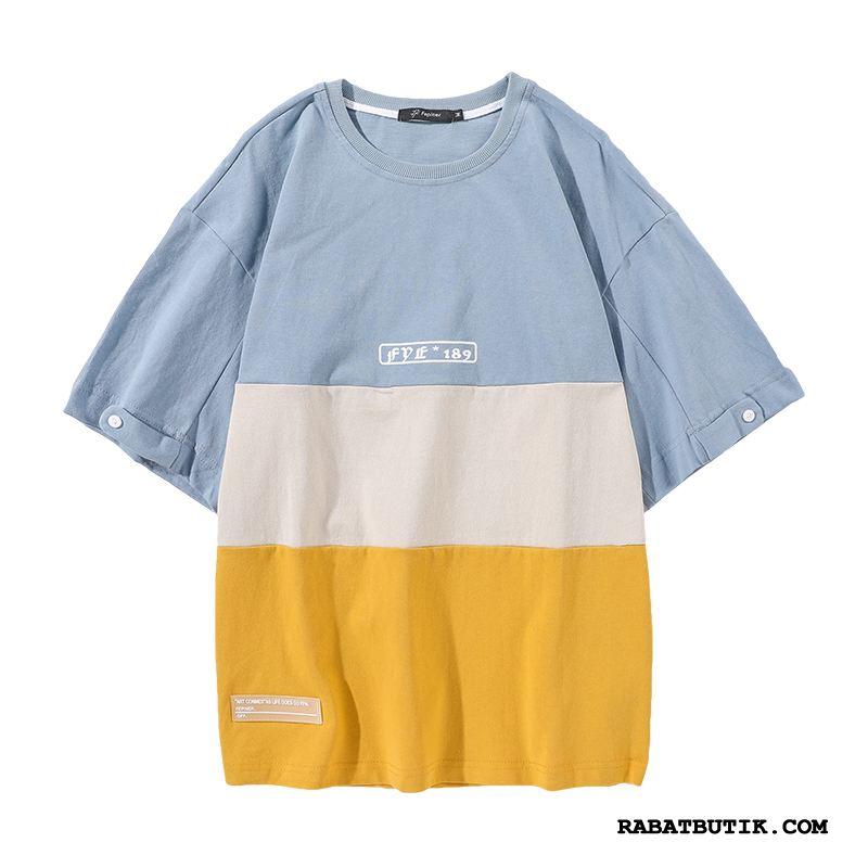 T-shirts Herre Billige Fritids Sommer Trendy Mænd Vintage Blandede Farver Gul Blå