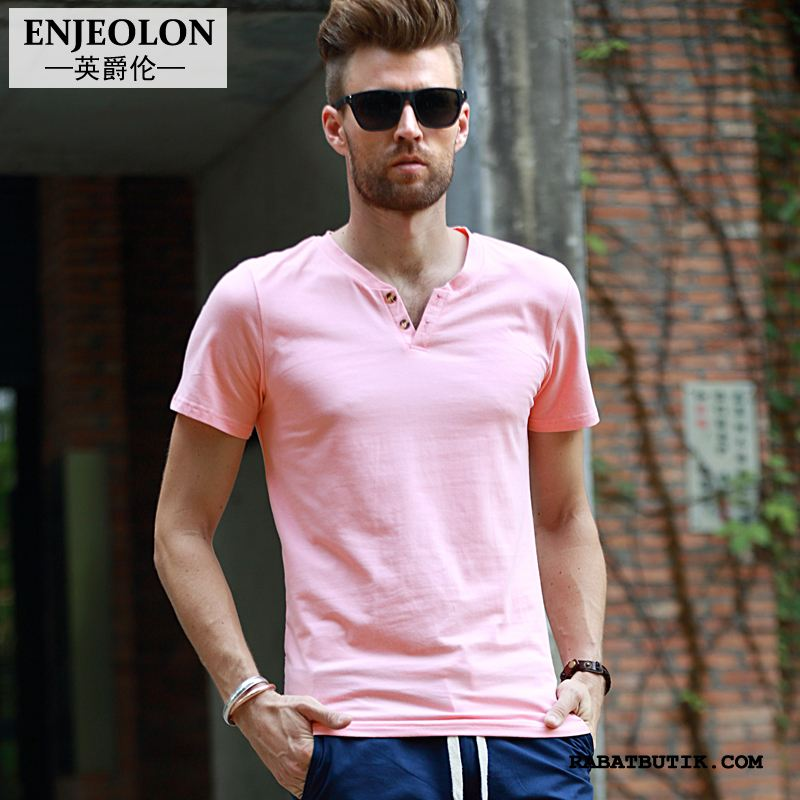 T-shirts Herre Billige Kort Ærme Jakke Forår Slim Fit Trend Pink Ren Cyan