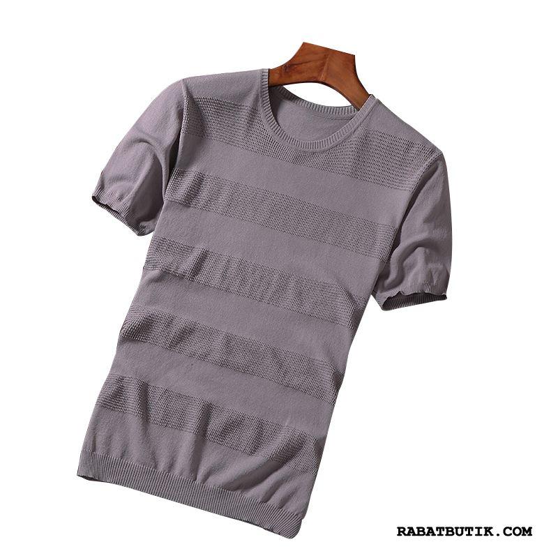 T-shirts Herre Billige Mænd Trend Is Silke Striktrøjer Slim Fit Grå