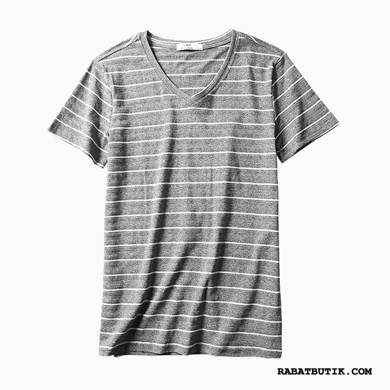 T-shirts Herre Billige Mode Fritids Kort Ærme Simple Mænd Sort