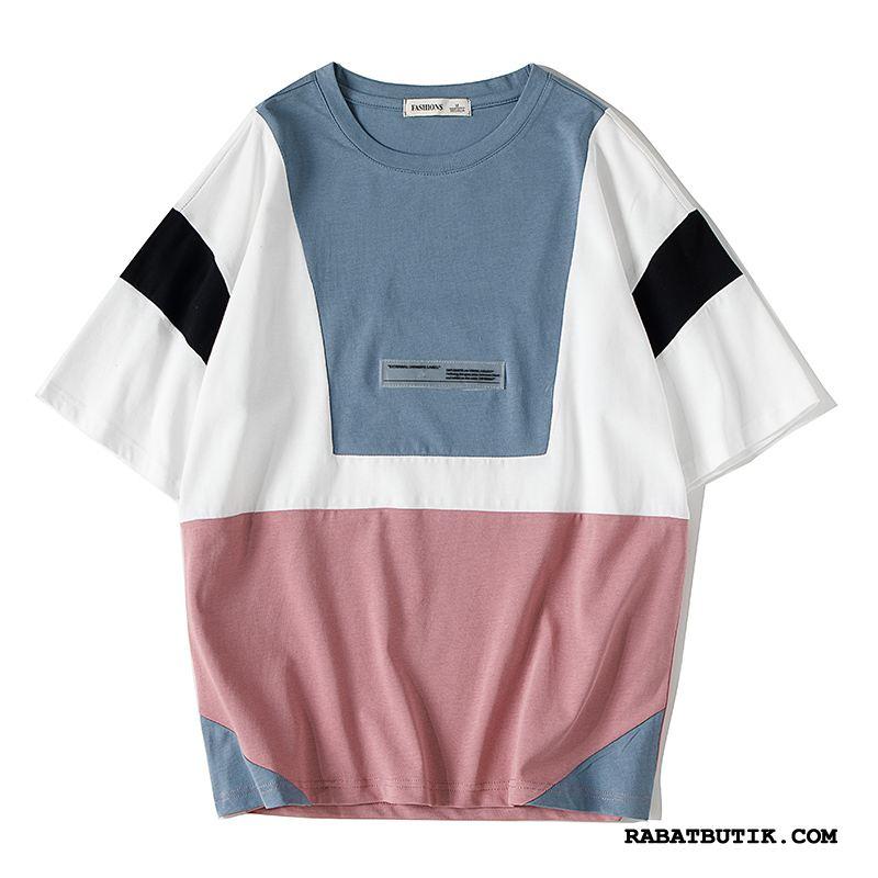 T-shirts Herre Billige Swag Kort Ærme Brede Personlighed Trend Blandede Farver Blå