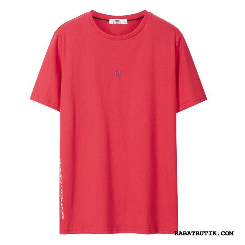 T-shirts Herre Butik Kort Ærme Simple Bomuld Med Broderi Jakke Rød