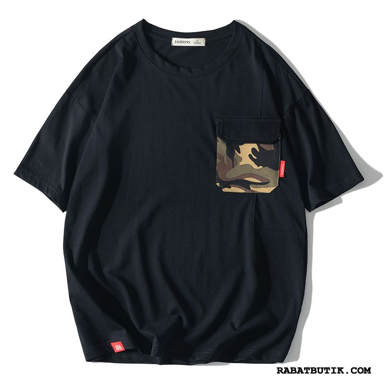 T-shirts Herre Butik Ny 2019 Lommer Bomuld Splejsning Camouflage Sort Cyan