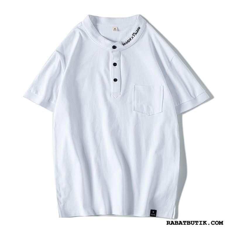T-shirts Herre Køb Trendy Dekoration Kort Ærme Business Mænd Ren Hvid