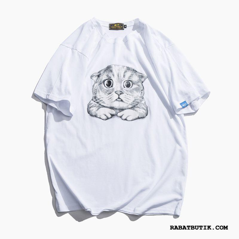 T-shirts Herre På Udsalg Vintage Undertrøje Fritids Kort Ærme Sommer Hvid Cyan Orange