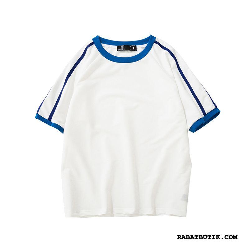 T-shirts Herre Salg Fritids Studerende Bomuld Kort Ærme Pullover Blå
