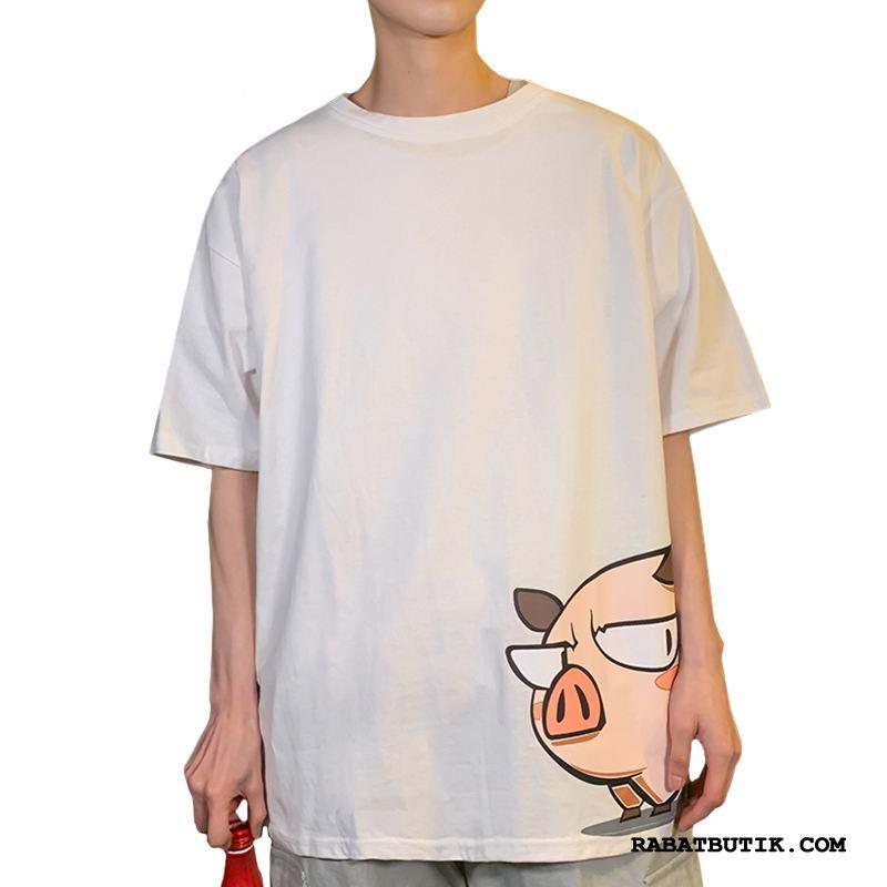 T-shirts Herre Tilbud Halv Ærme Mænd Brede Trendy Kort Ærme Rød Hvid