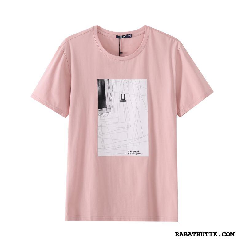T-shirts Herre Tilbud Halv Ærme Mænd Ny Rund Hals Slim Fit Pink Hvid Cyan