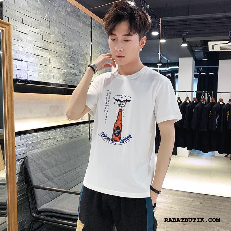 T-shirts Herre Udsalg Fritids Kort Ærme Slim Fit 2019 Trendy Hvid Cyan