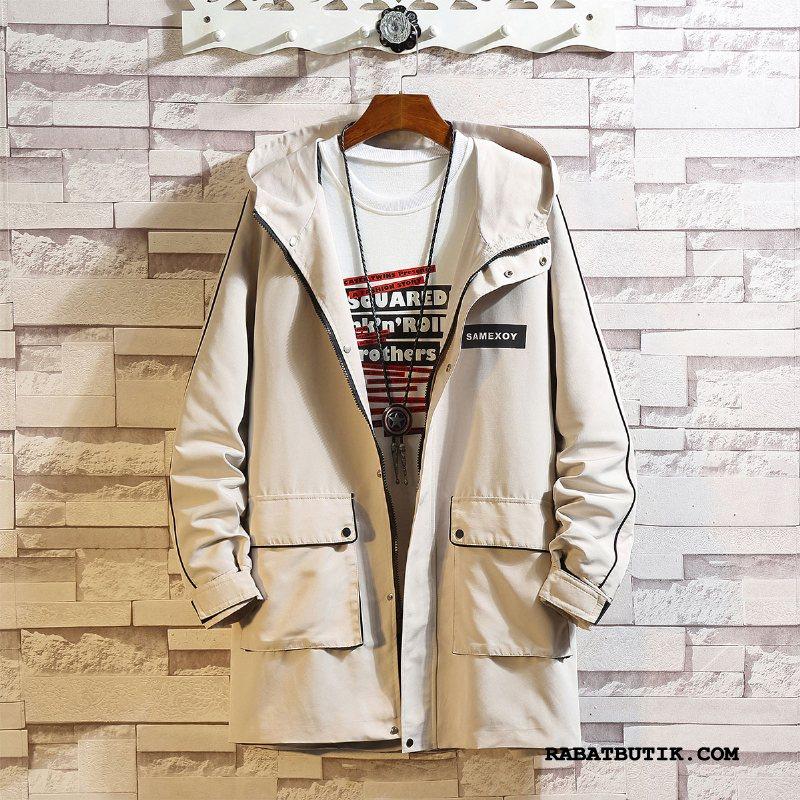 Trenchcoat Herre Billige Brede Trend Frakke Lange Store Størrelser Hvid
