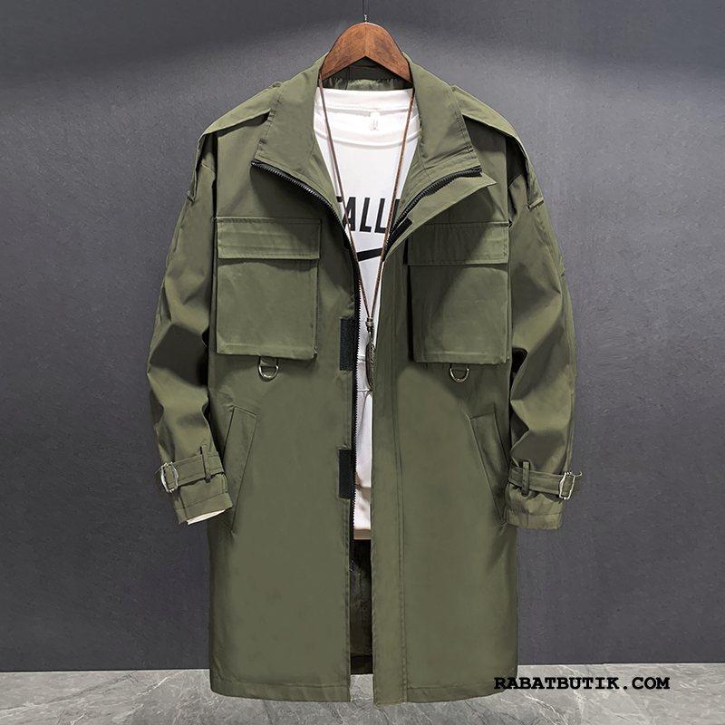 Trenchcoat Herre Salg Efterår Ny Mænd Mode Smuk Militærgrøn