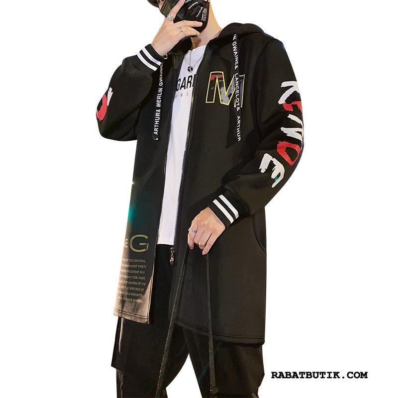 Trenchcoat Herre Salg Hip-hop Frakke Slim Fit Trend Trendy Sort