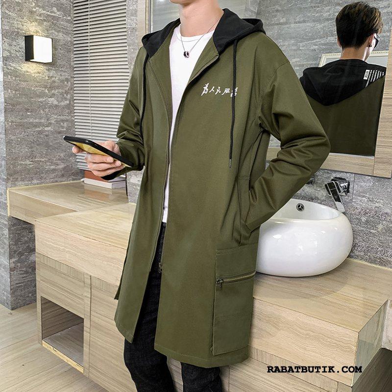 Trenchcoat Herre Tilbud Lange Simple Frakke Tynde Mænd Militærgrøn