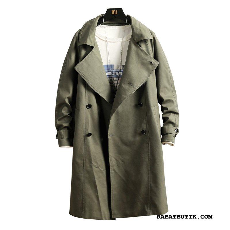 Trenchcoat Herre Tilbud Store Størrelser Slim Fit Frakke Brede Fedt Militærgrøn Ren