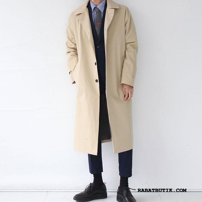 Trenchcoat Herre Udsalg Brede Britisk Frakke Trend Lange Khaki
